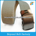 Boys' Beige Color Polyester Woven Belt with Metal Buckle