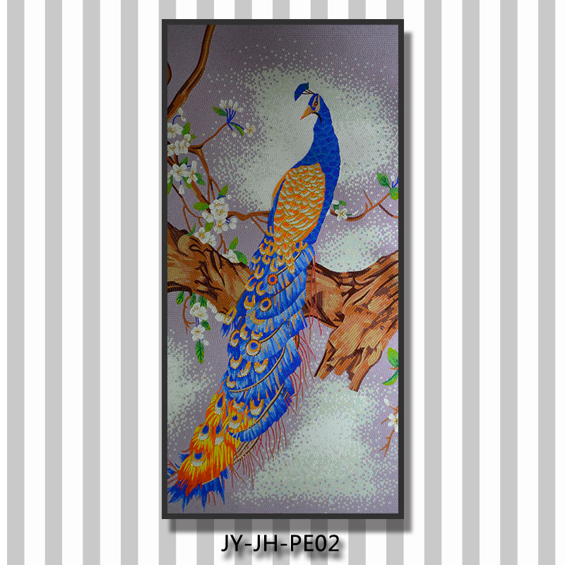 Ztclj jy jh pe02 beautiful peacock mural handmade living for Mural glass painting