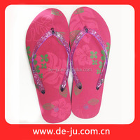 China Rose Red Golden Flower Printing 2016 New Flat Sandals Lady Shoes