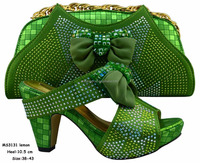 MS3131 Lemon green quality italian shoe and bag set latest shoes and bags in napoli
