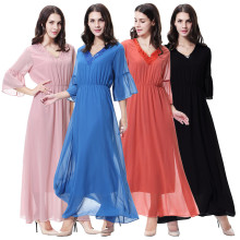 Muslim ladies chiffon V-neck robes Arab Hui dresses Middle East ladies robe