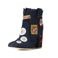 new design fashion style jeans fabric and beautiful pattern ornament upper middle heel american shoe brands