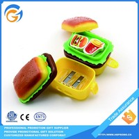Hamburger Shaped Mini Pencil Sharpener With Eraser