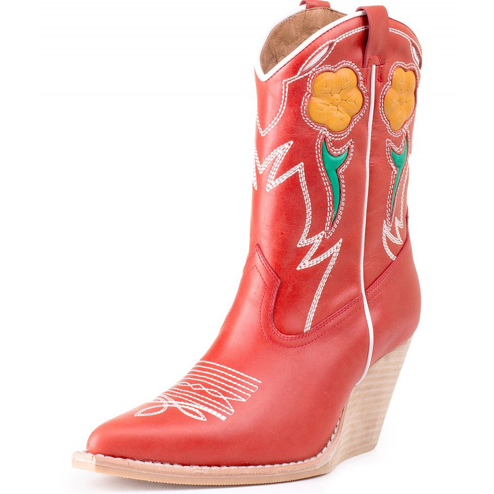15 years factory latest fashion wedge red mexican cowboy boots india