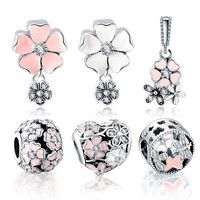 LZESHINE Flower Pendant Jewelry Beads 925 Silver Zirconia Dragonfly ButterflyCharms Charms