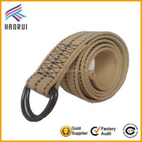 Custom fashion double d-ring belts fabric jeans belts for men canvas belts