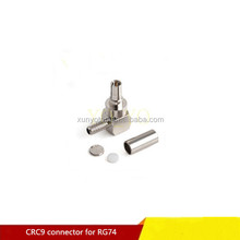 Right Angle plated Nickel CRC9 Male connector for RG174 cable