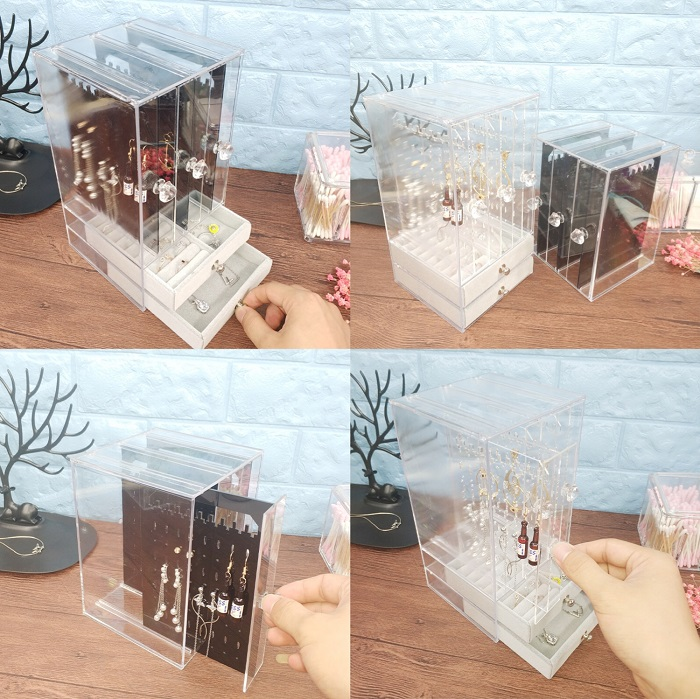 Acrylic large clear plastic jewelry storage box