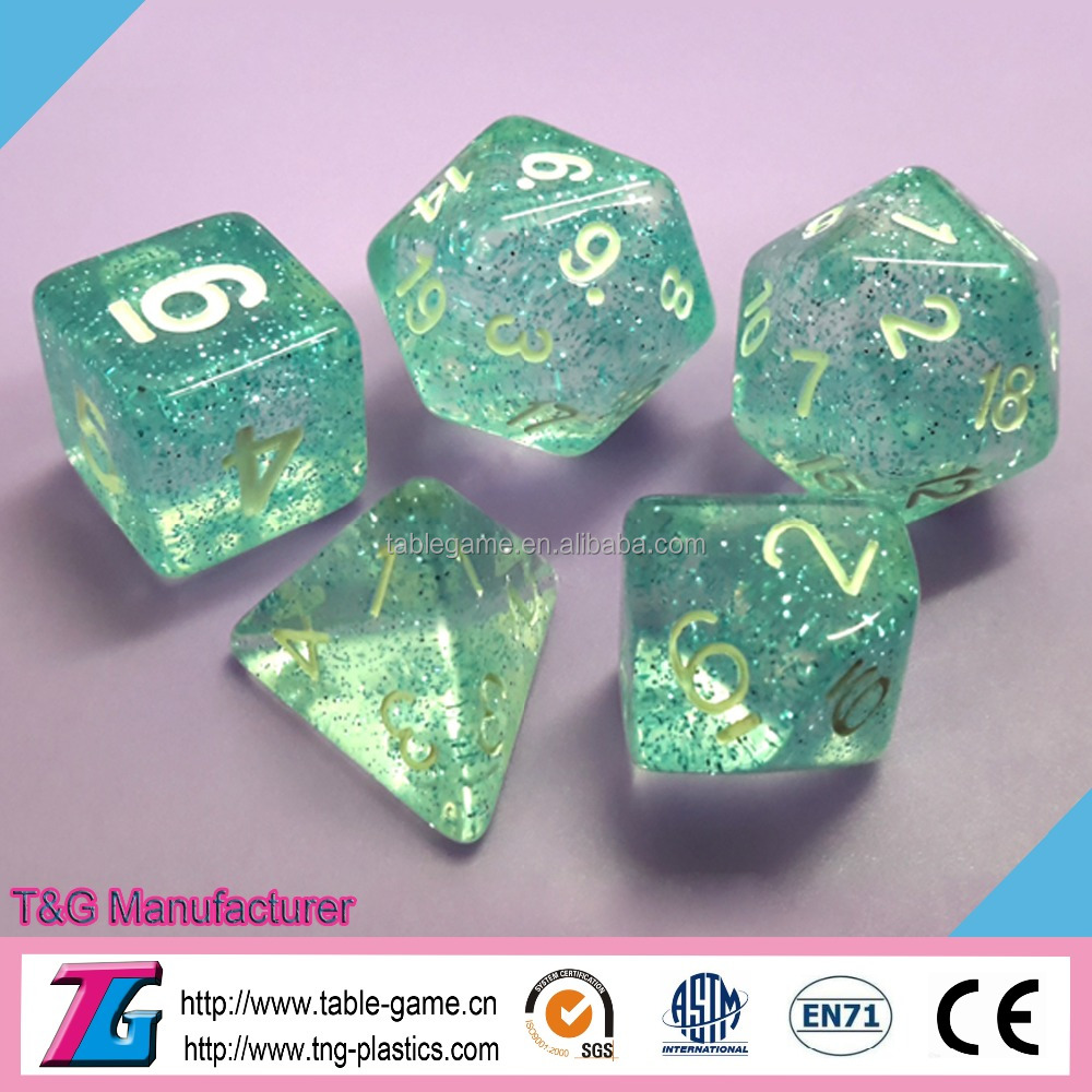 High quality plastic 12mm dice with glitter effect