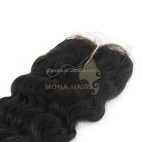Indian virgin hair wet and wavy closure, top closure in Guangzhou mona factory