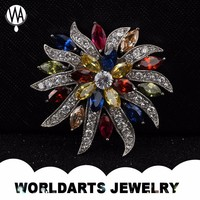 Colorful Zircon Flower brooches for women