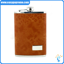 Portable real leather wrapped 8oz stainless steel hip flask for men as gift