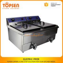 Stainless steel fish and chips fryer/water fryer, 19L+19L electric chicken fryer conveyor with valve