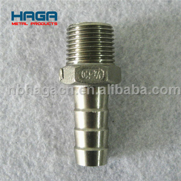 Stainless steel pipe fitting male threaded hex hose nipple