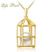 18ct Yellow Gold Cage Locket Freshwater Pearl Pendant without Stone