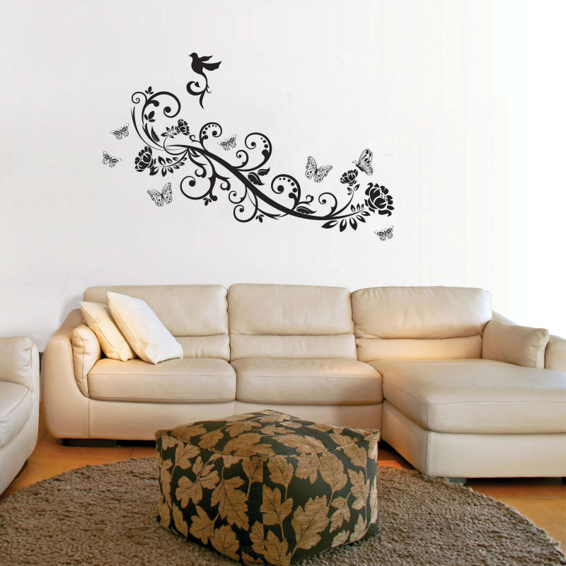 Walplus Wall Stickers Butterflies Birds Vine Wall Stickers Living Room Double sided window film Paper