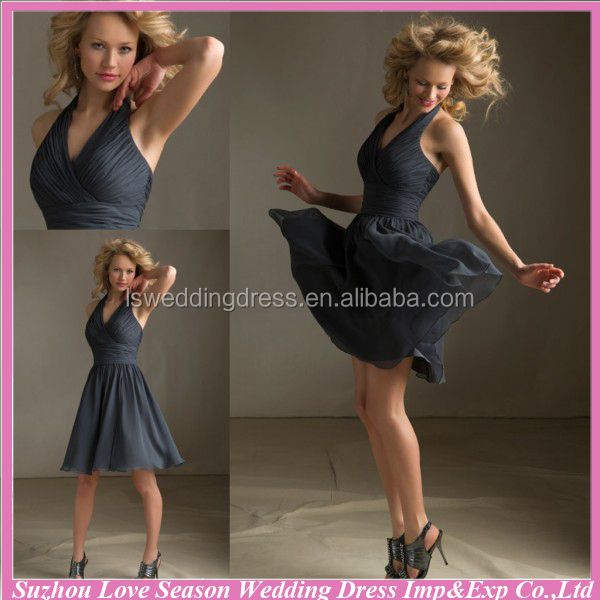 HB2055 Luxe harooal V neck sleeveless halter gathered top A-line knee length chiffon bridesmaid dress patterns