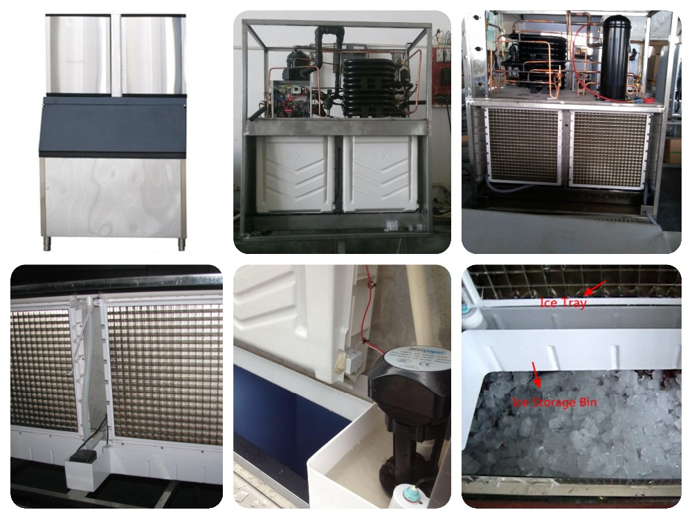 Auto ice-outlet in application with industrial ice maker machine