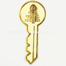 Custom enamel keys lapel pins stamping gold designed metal badges