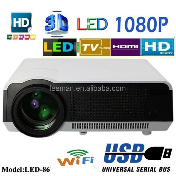 Leeman LED-86+ WIFI 4000 lumens built-in android 4.2.2 full HD 1080p LED home theater projector