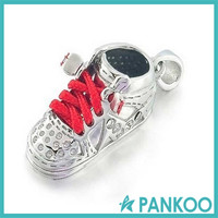 Sterling Silver High Top Sneaker Red Baby Shoe Charm