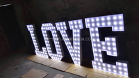 3D metal free standing wedding decoration light bulb led white light love letter