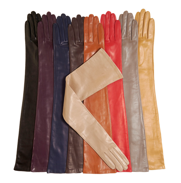 Colorful Opera Party Elbow Length Long Leather Gloves