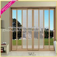 HOT! Hanging Screen aluminium frame Sliding glass Door for Luxury Villa/apartment/house/stars hotels/lliving room/commercial