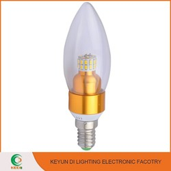 KEYUNDI Ultra bright LED Lighting For Crystal Lamp E14 E27 B22 3W led candle lamp