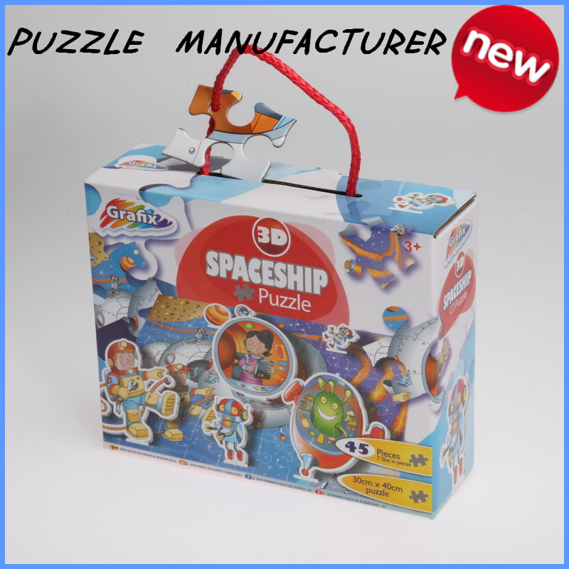 Intelligent toy kids cartoon 3d jigsaw puzzle games 45 pieces handheld puzzle games