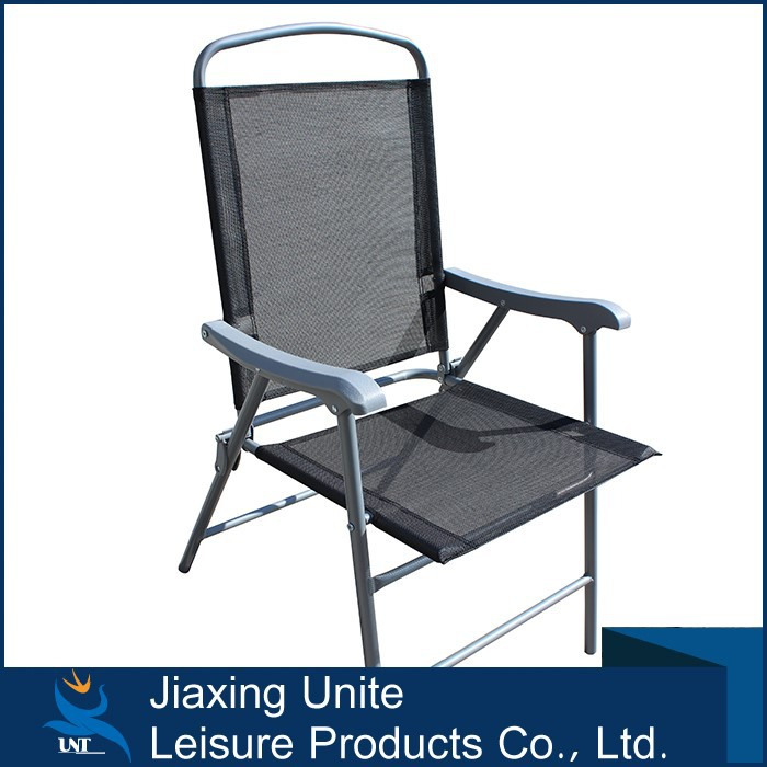 Promtional products cheap foldable chair/black sling metal folding chair