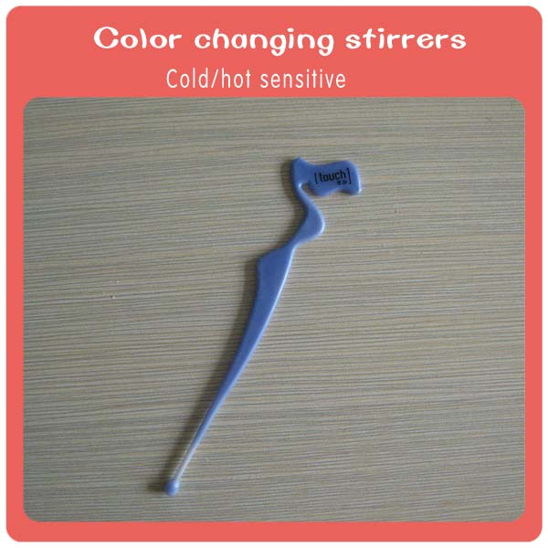 Colorful swizzle stick plastic color changing bar stirrers