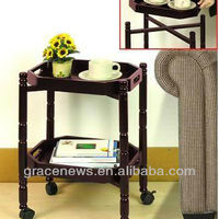 2 Tier Wood Tray Table With