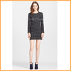 elegant mini graphic pattern dress prom black plaid printed long sleeve dress D0062