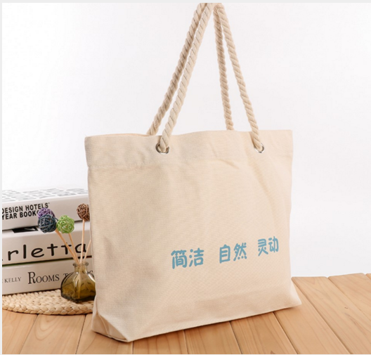 Definite thick Rope cord handle Leisure white Canvas Shopping tote bag natural white