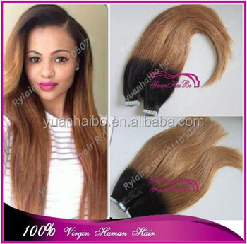 7A best quality 1b/27# two tone virgin brazilian human hair ombre skin weft tape hair extension