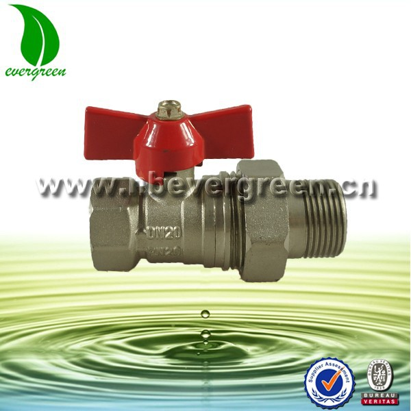 "Brass ball valve with 1/2"" to 3/4"" male thread connector"