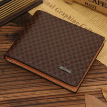 Free Shipping Fashion Leather Plaid <strong>Wallets</strong> Men <strong>Wallet</strong>