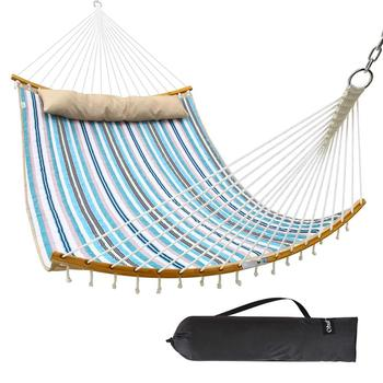 HR 2019 New Curved Design Quilted Hammock with Detachable Pillow and Carry Bag