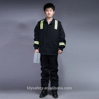 Reflective 100 cotton coverall flame retardant covreall suit black jacket&pant overalls boiler suit S