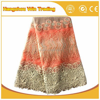 Peach nigerian lace italian swiss lace fabric african 2016 for girl dresses