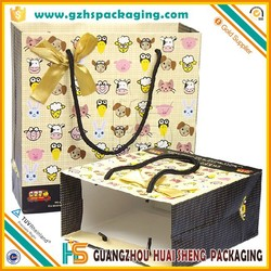 Offset printing paper shopping bags with cotton rope handle