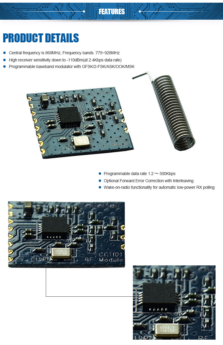 CC1101 433Mhz 868Mhz wireless module transceiver and receiver low power 200M RF module