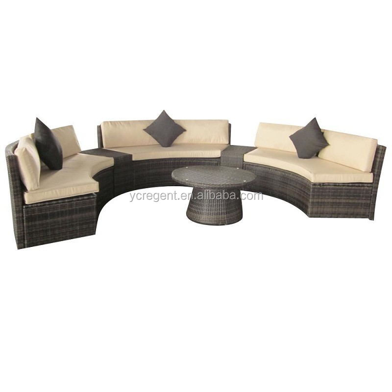 popular cheap rattan half moon sofa