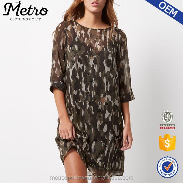 Women Khaki Camouflaged Printed Round Neckline Chiffon Layered Dress