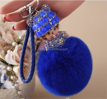 Stock soft pompones DIY Custom color pom Rabbit fur ball keychain for cellphone car woman bags the diamond on the fox