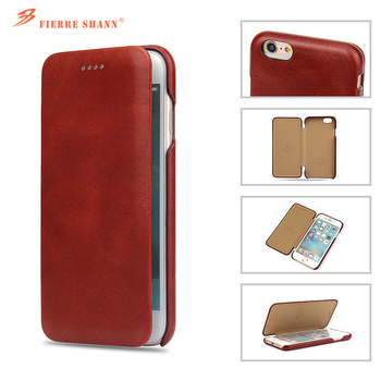 Fierre Shann Genuine Leather Flip Case Cover for Apple iPhone 6