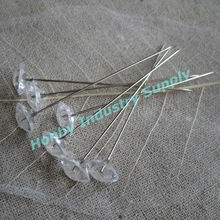 Wedding Decoration 60mm Plastic Head Crystal Bouquet Pin