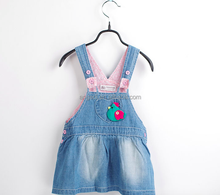 Custom children girls overall jeans jump suit with adjustable straps