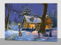 landscape cabin LED canvas painting art Christmas fiber optic wall art
